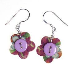 buttons flowers earrings