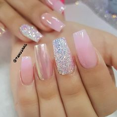 Glitter Nail Art Awesome nails have always been in trend. Lately, nail art is turning immensely popular and gaining highlight. Nail art allows you to add some spunk to your otherwise boring nails. Nail Art Designs, Acrylic Nail Designs, Nails Design, Acrylic Nails, Blue Nails, My Nails, Pearl Nails, Nagel Gel, Glitter Nail Art
