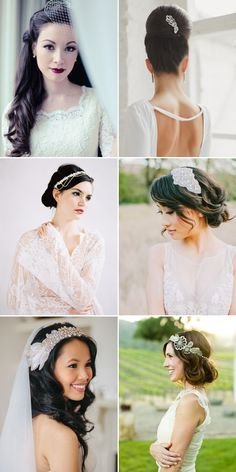 28 Gorgeous Hairstyles for Brides with Dark Hair - Vintage-inspired!