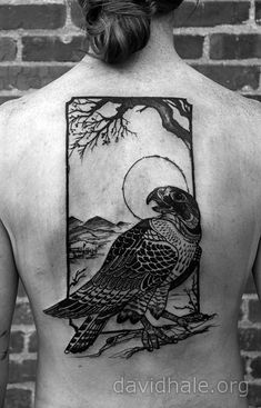 http://davidhale.org  Hawk Tattoo Love this- at first I was not crazy about the rectangular outline, but I don't think the tat would work without it