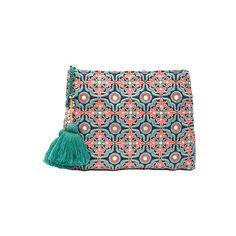 Star Mela Ashi Clutch (435 BRL) ❤ liked on Polyvore featuring bags, handbags, clutches, tassel purse, man bag, blue handbags, cotton purse and blue hand bag