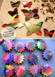 Recycled bits of crayons melted into shapes using cookie cutters or shaped baking dishes.