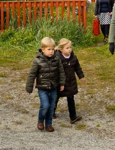 Danish twins Princess Josephine and Prince Vincent during the visit to Nanortalik (Greenland), 02 August 2014.