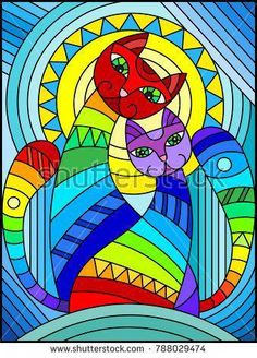 Illustration in stained glass style with a pair of abstract geometric rainbow ca. Illustration in Stained Glass Designs, Stained Glass Projects, Stained Glass Patterns, Stained Glass Art, Geometric Cat, Arte Pop, Art Plastique, Blue Backgrounds, Cat Art