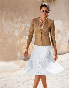 Skirt with Madeira embroidery, necklace of metal rings, bracelet of metal rings, coarse linen blazer