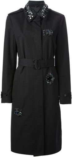 Burberry Prorsum Embellished Trench Coat in Black