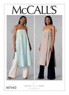Beauté J'Adore for McCall's. M7443 Misses' Strapless, Pleated Tunic and Wide-Leg Pants sewing pattern.