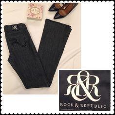 "Rock & Republic bootcut jeans Sz 27 Dark denim, bootcut jeans by Rock & Republic. ""Kasandra"" Sz 27 (99% cotton/1% spandex) (15"" across waist, 34"" inseam, 7.5"" rise) Rock & Republic Jeans Boot Cut"