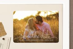 """""""Revelry"""" - Simple, Full-Bleed Photo Save The Date Magnets in Lily by Design Lotus."""