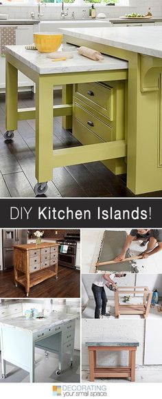 More DIY Kitchen Islands! • Lots of Ideas and Tutorials! Easy DIY kitchen island tutorials to help create extra space in your small kitchen! Building a kitchen island is easy, and adds storage and counter space!