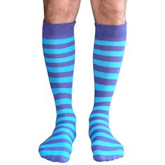 Purple & Neon Blue athletic tube style mens knee socks.  Shop our entire Mens collection.  Chrissy's Socks 877-862-6267