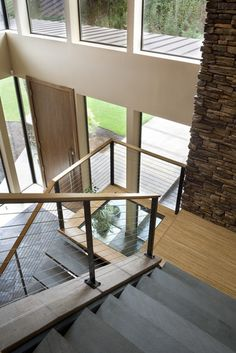 Glass landing over the stairs