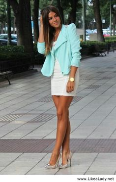 Mint and white outfit with accessories