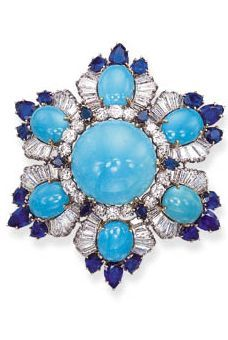 TURQUOISE, SAPPHIRE AND DIAMOND JEWELLERY, BY HARRY WINSTON Comprising a brooch, designed as a flowerhead with a central cabochon turquoise, ...