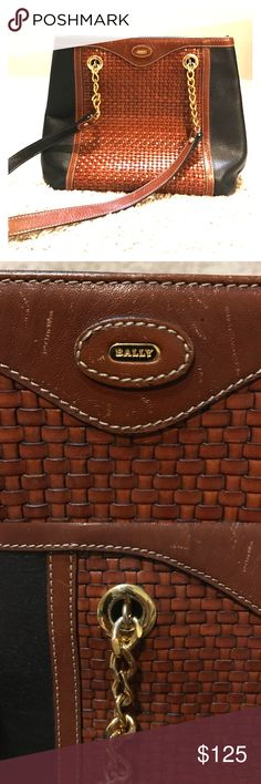 Vintage BALLY Leather Woven Bucket Bag Vintage BALLY Navy and Rich, Brown Leather Woven Bucket Bag w/ Gold Chain Straps. Gently used, vintage. Has some scratches but doesn't detract from this beauty! Love this bag, but never use it. Bally Bags Shoulder Bags