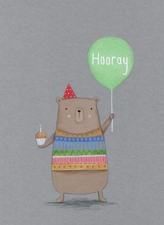 Lucy Barnard - Bear Cake Balloon much more there! Happy Birthday Fun, Happy Birthday Messages, Bear Birthday, Happy Birthday Images, Happy Birthday Greetings, Birthday Pictures, Sister Birthday, Birthday Cake Illustration, Balloon Illustration