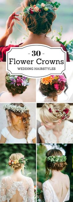 These Wedding Hairstyles With Flower Crowns are simply the BEST! So love how pretty and elegant these hairstyles are. I'm sure they'll go well with any length hair!
