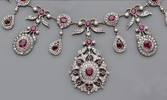 Gorgeous ruby and diamond belle epoque tiara/necklace once auctioned by Bonham's Ruby And Diamond Necklace, Diamond Tiara, Emerald Earrings, Emerald Jewelry, Victorian Jewelry, Antique Jewelry, Vintage Jewelry, Royal Jewelry, Fine Jewelry