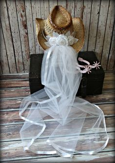 White-western-bridal-wedding-cowgirl-hat-cowboy-western wedding-cake topper-boots-bachelorette-party-boots-bride-country-hat and veil-formal by MorganTheCreator on Etsy https://www.etsy.com/listing/183421126/white-western-bridal-wedding-cowgirl-hat