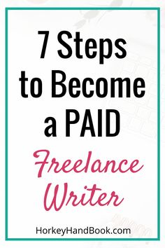 Have you been thinking about taking steps to become a freelance writer, but aren't so sure how to get started? How to Become a PAID Freelance Writer - 7 Steps. How to make money from home Work From Home Jobs, Make Money From Home, Way To Make Money, Writing Skills, Writing Tips, Creative Writing, Blog Writing, Make Money Blogging, Make Money Online