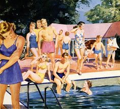 Vintage illustration of men and women in swimsuits at a pool party; screen print, Get premium, high resolution news photos at Getty Images Images Vintage, Vintage Posters, Retro Vintage, Retro 2, Vintage Swim, Vintage Stuff, Retro Style, Vintage Prints, Pin Up