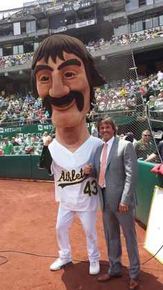 Dennis Eckersley and his twin brother at O.Co throwing out the first pitch. Legend