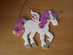 Hama bead/ perler bead mega unicorn necklace by TokyoSugoi on Etsy