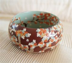 Autumn Leaves Sage, Marigold, Burnt Sienna Hand Painted Wooden Bangle Bracelet via Etsy