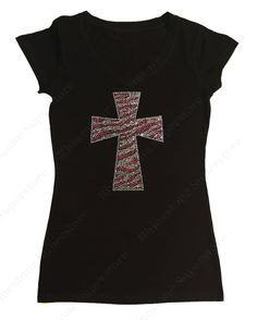 """Women's Rhinestone & Rhinestud T-Shirt """" Pink Zebra Cross """" in S, M, L, 1X, 2X, 3X"""