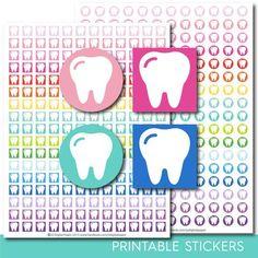 Dentist stickers, Dentist planner stickers, Dentist printable stickers, Tooth stickers, Teeth stickers, Hygiene stickers, STI-272
