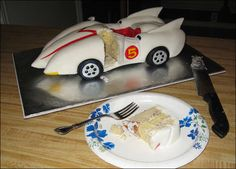 How to make a Mach 5 cake from Speed Racer.