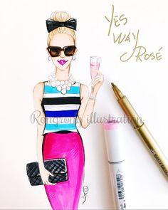 Fashionista illustration, Fashion print, Fashion blogger, Fashion art, Fashion sketch, Titled, Yes Way Rose