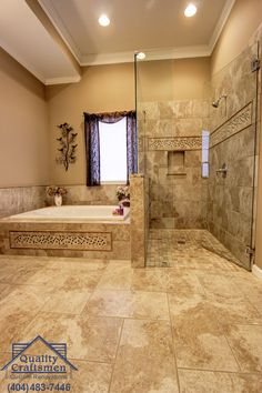 Universal design shower with adjoining garden tub accented by tiling workmanship.