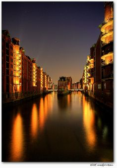 Speicherstadt at night, Hamburg, Germany