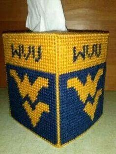 West Virginia University Tissue Box Cover