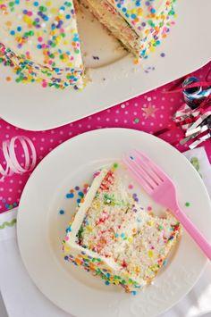 Funfetti scratch recipe :d also fluffy vanilla cake