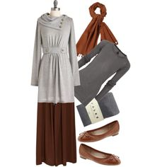 """brown long skirt with hijab with grey top"" by feminine-modesty on Polyvore"