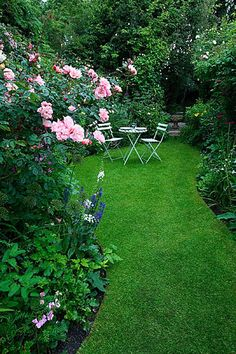 ~English Gardens~Amelia heath garden, 1, cross villas, shropshire: The secret garden. A place to sit - wooden table and chairs on lawn surrounded by roses