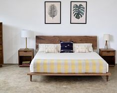 Walnut Platform Bed, Solid Wood Modern Furniture, Hand Crafted Bed Frame and Headboard Solid Wood Platform Bed, Platform Bed Frame, Bed Frame And Headboard, Headboards For Beds, Industrial Bed, Wood Beds, Mid Century Modern Furniture, How To Make Bed, Types Of Wood