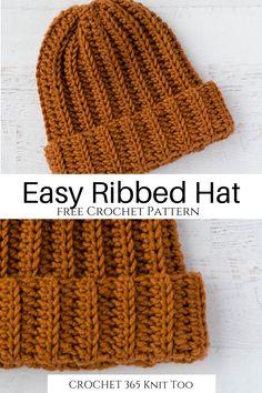 Ribbed Crochet, Crochet Cap, Free Crochet, Crochet Dolls, Easy Crochet Hat Patterns, Crochet Beanie Pattern, Crochet Hat Tutorial, Doll Patterns, Knitting Patterns