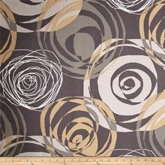 Magnolia Home Fashions Right On Pewter from @fabricdotcom  Screen printed on cotton duck; this versatile, medium weight fabric is perfect for window accents (draperies, valances, curtains and swags), accent pillows, duvet covers, upholstery and other home decor accents. Create handbags, tote bags, aprons and more. Colors include shades of grey with cream and brown accents.