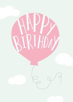 Happy Birthday greeting card with pink baloon Design by Print Smitten
