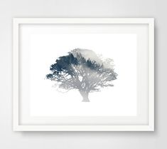 Blue Tree Wall Print Tree Art Tree Print Plant Print by Ikonolexi