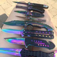 Pinterest: dopethemesz ; oil slick dreams ; Rainbow knifes!!!! So cool....