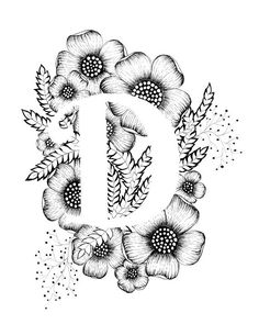 Letter D print - Alphabet, Calligraphy, Typography, Monogram, Flowers - Black and White ink art print
