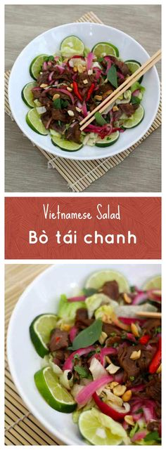 Bò tái chanh is a Vietnamese salad based on beef that is prepared raw or underdone by cooking it in lime juice, and served with other herbs and ingredients. #196flavors
