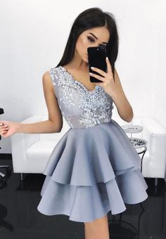 Double Tiered Short Homecoming Dress, Lace Homecoming Dress, Cheap prom Dress ,Sexy Homecoming Dress 2018