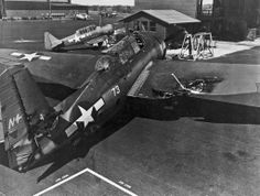View of a TBM-1C Avenger assigned to VT 2 after a mid air collision Jan7, 1944. and she still came home