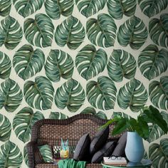Mind The Gap Wallpaper Collection - Tropical Leaf at Rose & Grey. Buy online now from Rose & Grey, eclectic home accessories and stylish furniture for vintage and modern living. Fern Wallpaper, Tropical Wallpaper, Botanical Wallpaper, Wallpaper Decor, Wallpaper Designs, Print Wallpaper, Amazing Wallpaper, Wallpaper Ideas, Nature Wallpaper