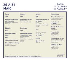 Confira a programação da Casa da Cultura essa semana!  #CasaDaCulturaParaty #CasaDaCultura #arte #cultura #turismo #exposição #fotografia #música #Paraty #PousadaDoCareca